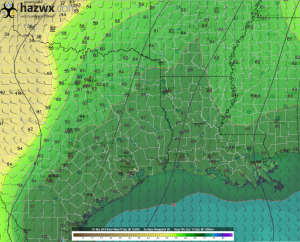 12z GFS Surface Dewpoint Hr 90